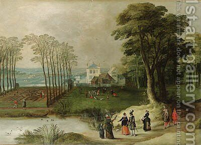 A wooded landscape with elegant company by a pond by (after) Joos Or Josse De, The Younger Momper - Reproduction Oil Painting