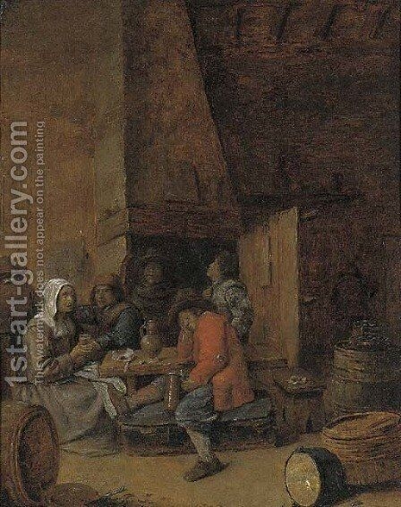 Peasants drinking and smoking in an inn by (after) Joos Van Craesbeeck - Reproduction Oil Painting
