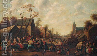 Peasants drinking and eating at tables in a village street by (after) Joost Cornelisz. Droochsloot - Reproduction Oil Painting