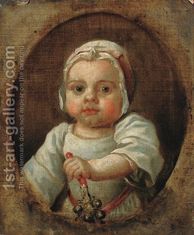Portrait of a child, traditionally identified as Anne Strode, bust-length, in white dress and bonnet, holding a rattle in her left hand by (after) Highmore, Joseph - Reproduction Oil Painting