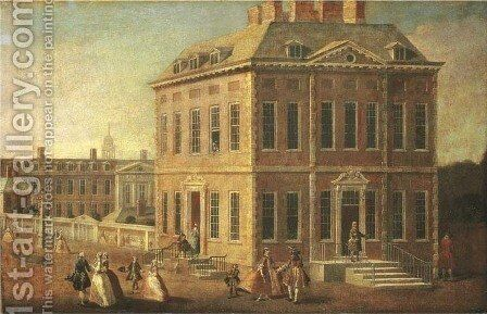 View of Ranelagh House and Gardens, and the Chelsea Hospital, with figures walking in the foreground by (after) Joseph Nickolls - Reproduction Oil Painting