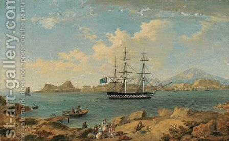 A British second rate ship of the line, flying the ensign of an admiral of the blue squadron, at anchor off Corfu by (after) Joseph Schranz - Reproduction Oil Painting