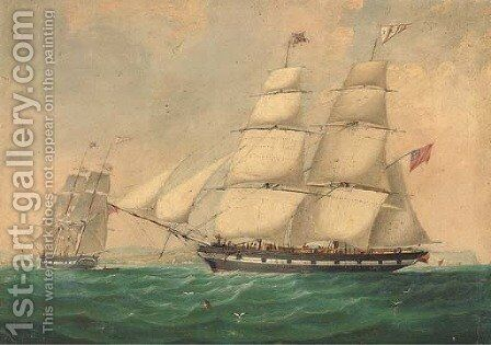 The English brig Zuleika entering Belfast Lough by (after) Joseph Semple - Reproduction Oil Painting