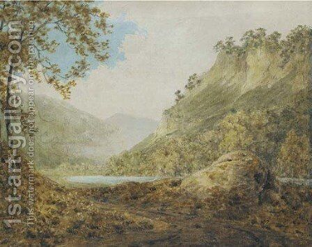 The River Derwent, near Matlock, Derbyshire by (after) Josepf Wright Of Derby - Reproduction Oil Painting