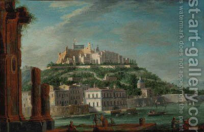 A view of a Sicilian harbour, with a citadel flying the flag of the two Sicilies by (after) Juan Ruiz - Reproduction Oil Painting