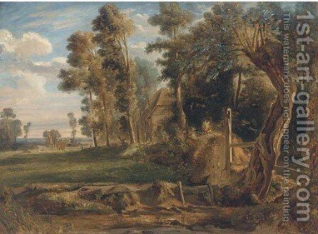 Cattle by a woodland cottage by (after) Jules Louis Phillipe Coignet - Reproduction Oil Painting