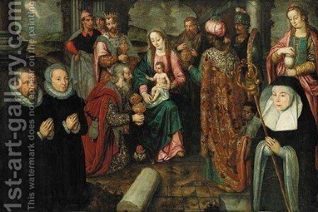 The Adoration of the Magi with kneeling donors by (after) Karel Foort - Reproduction Oil Painting
