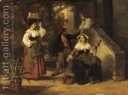 The woolspinners by (after) Karel Frans Philippeau - Reproduction Oil Painting