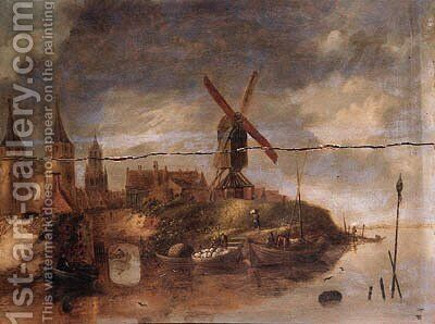 A fortified town on a river with fishermen in rowing boats unloading the catch near a landing stage by (after) Claes Molenaar (see Molenaer) - Reproduction Oil Painting