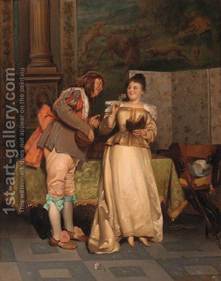 The courtship by (after) Ladislaus Bakalowicz - Reproduction Oil Painting
