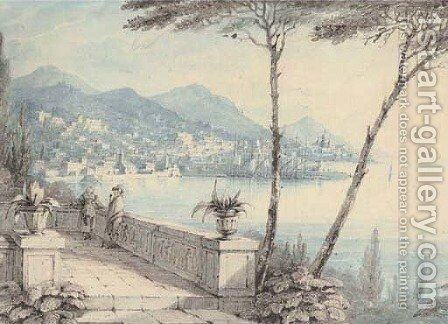 Genoa from the Villa Durazzo by (after) Caroline Lucy Scott - Reproduction Oil Painting