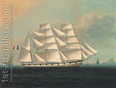 A French barque in the company of a deep water junk by (after) Lai Fong - Reproduction Oil Painting