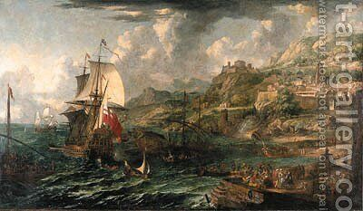 A capriccio of a Mediterranean harbour with a British man-o-war and a galley and numerous figures on a quay by (after) Laureys A Castro - Reproduction Oil Painting