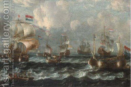 Warships off the Dutch coast by (after) Laureys A Castro - Reproduction Oil Painting