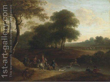 A stag hunt in a wooded landscape by (after) Lazare Bruandet - Reproduction Oil Painting