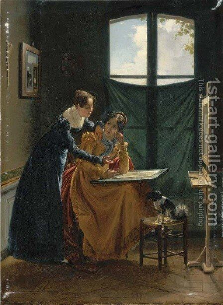 The drawing lesson by (after) Leon-Matthieu Cochereau - Reproduction Oil Painting