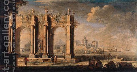 Figures amongst classical ruins, a port beyond by (after) Leonardo Coccorant - Reproduction Oil Painting