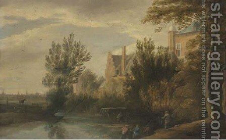 A river landscape with a fisherman, a town beyond by (after) Lodewijk De Vadder - Reproduction Oil Painting