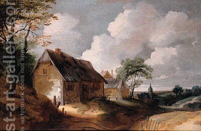 A road leading to a village, with poultry on a farmyard in the foreground by (after) Lodewijk De Vadder - Reproduction Oil Painting
