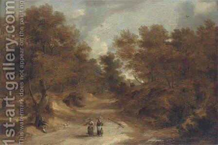 A wooded landscape with peasants on a path by (after) Lodewijk De Vadder - Reproduction Oil Painting