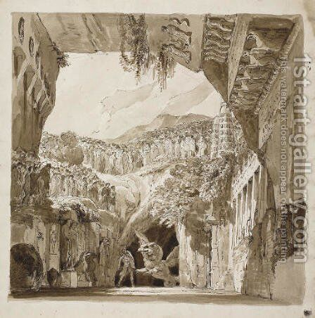 A stage design A man fighting a dragon in a cave (recto), Architectural sketches (verso) by (after) Lorenzo I Quaglio - Reproduction Oil Painting