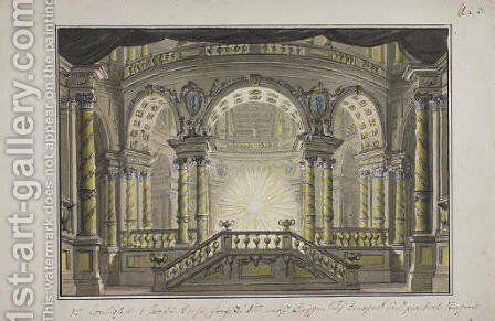 A stage design The interior of a Temple by (after) Lorenzo I Quaglio - Reproduction Oil Painting
