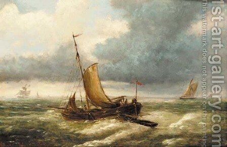 A fishing boat in choppy waters with other boats beyond by (after) Louis Verboeckhoven - Reproduction Oil Painting