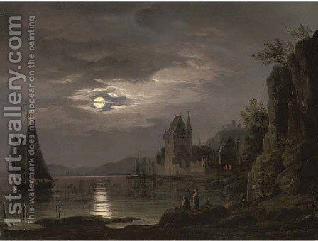 A moonlit river landscape with figures on the shore, shipping beyond by (after) Louis Johann Ludwig Catoir - Reproduction Oil Painting
