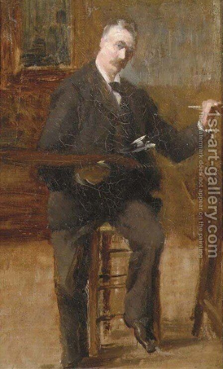 An artist in his studio by (after) Louis Joseph Anthonisse - Reproduction Oil Painting