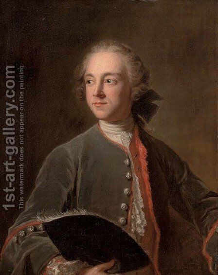 Portrait of Francis Greville, 1st Earl of Warwick (1719-1773) by (after) Louis Tocque - Reproduction Oil Painting
