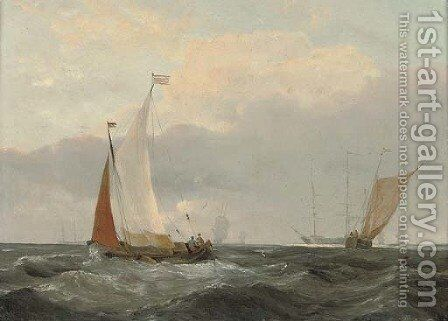 Barges at sea with a frigate anchored beyond by (after) Louis Verboeckhoven - Reproduction Oil Painting