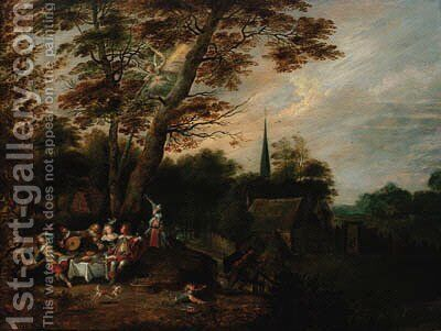 Elegant company at table in a wooded landscape, a village beyond with an angel of the Apocalypse above by (after) Lucas Van Uden - Reproduction Oil Painting
