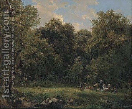 Dejeuner sur l'herbe by (after) Adrian Ludwig Richte - Reproduction Oil Painting