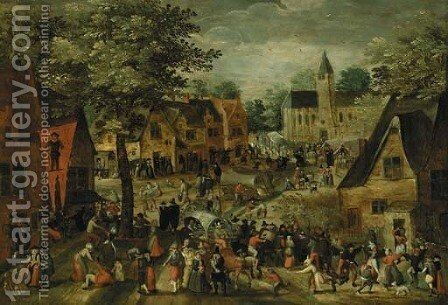 Villagers in town on market day by (attr. to) Cleve, Marten van - Reproduction Oil Painting