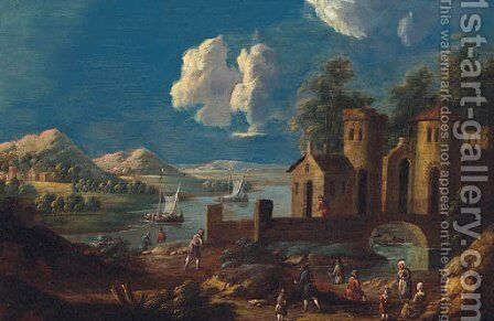 A river landscape with peasants on a track before a bridge and tower, fishing boats beyond by (after) Marc Baets - Reproduction Oil Painting
