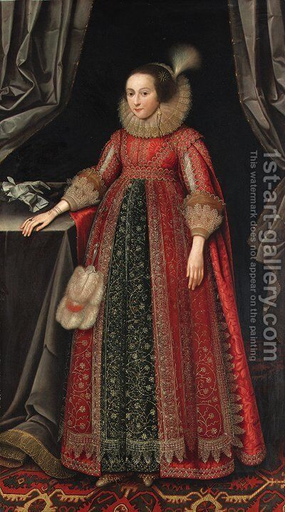 Portrait of Susanna Temple, later Lady Lister (1600-1669) by (after) Marcus The Younger Gheeraerts - Reproduction Oil Painting