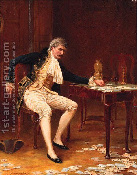 The Frustrated Gambler by (after) Margaret Murray Cookesley - Reproduction Oil Painting