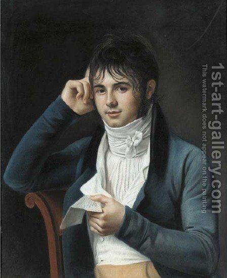 A young man wearing a blue coat by (after) Marie-Gabrielle Capet - Reproduction Oil Painting