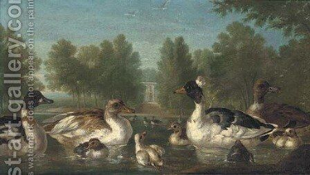 Ducks on a pond with a pavilion beyond by (after) Marmaduke Cradock - Reproduction Oil Painting