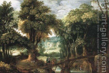 A wooded river landsape with the Flight into Egypt by (after) Marten Ryckaert - Reproduction Oil Painting