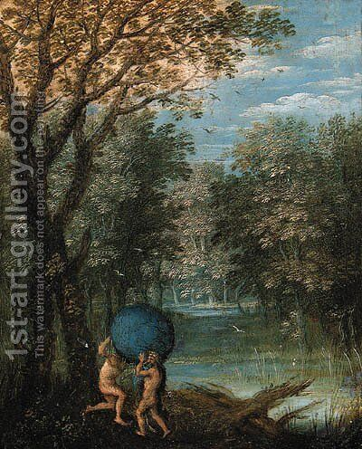 A wooded river landscape with Atlas passing the World to Hercules by (after) Marten Ryckaert - Reproduction Oil Painting