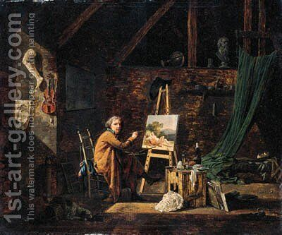 Portrait of an artist, seated small full-length, painting in his studio by Martin Drolling - Reproduction Oil Painting