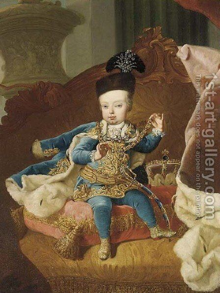 Portrait of Archduke Joseph, later Emperor Joseph II of Austria (1741-90) by (after) Martin II Mytens Or Meytens - Reproduction Oil Painting