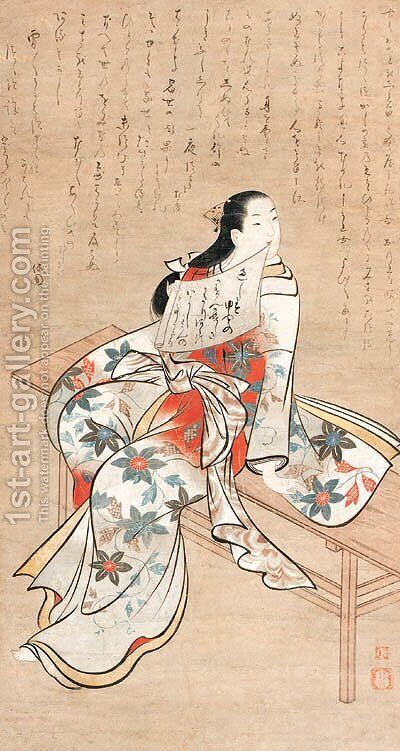 Courtesan seated on a bench by (after) Matsuno Chikanobu - Reproduction Oil Painting