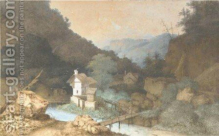 Farmhouses by a bridge over a river in a mountanious landscape by (after) Mattheus Derk Knip - Reproduction Oil Painting