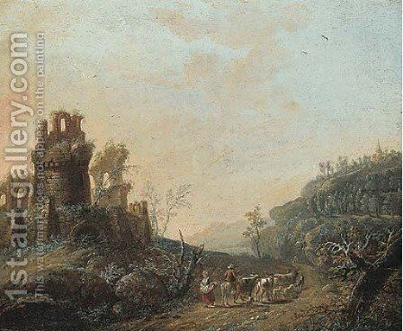 Travellers on a path near a ruined castle by (after) Maximillian Joseph Schinnagl - Reproduction Oil Painting