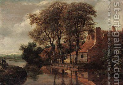 A river landscape with a mother and child on a path and a farmstead beyond by (after) Meindert Hobbema - Reproduction Oil Painting
