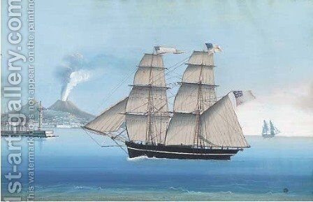 The brig Brothers of Poole under full sail off Naples by (after) Michele Funno - Reproduction Oil Painting