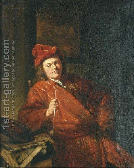 Portrait of an artist smoking a pipe by (after) Michiel Van Musscher - Reproduction Oil Painting