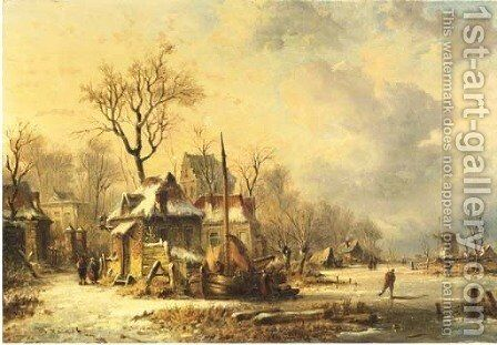 Winter houses by a frozen river at dusk by (after) N.M. Wijdoogen - Reproduction Oil Painting